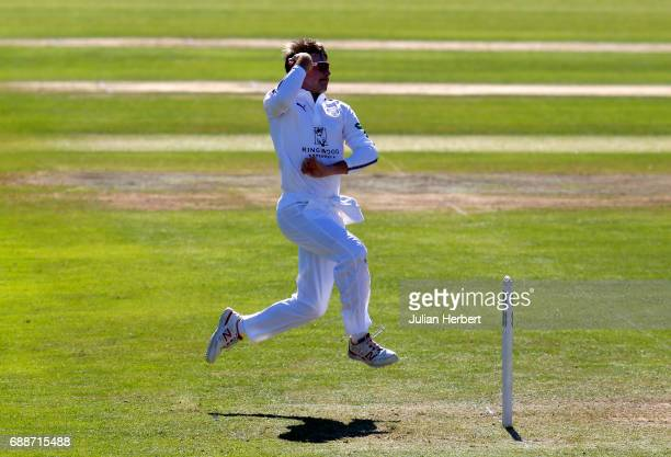 Mason Crane of Hampshire bowls during Day One of The Specsavers County Championship Division One match between Somerset and Hampshire at The Cooper...