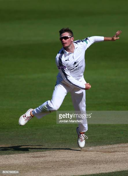 Mason Crane of Hampshire bowls during day three of the Specsavers County Championship Division One match between Surrey and Hampshire at The Kia Oval...