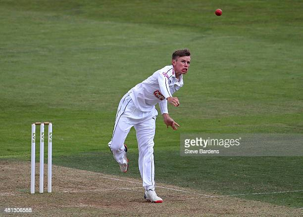 Mason Crane of Hampshire bowls on his county championship debut during the LV County Championship match between Hampshire and Durham at Ageas Bowl on...