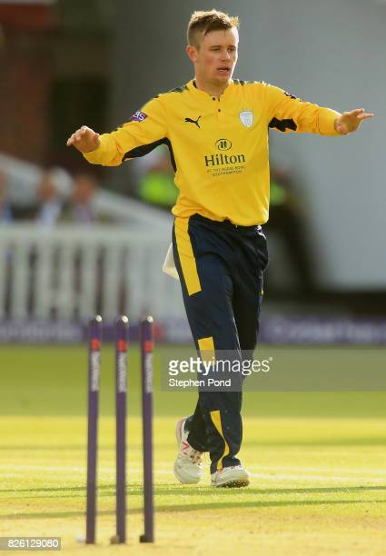 Mason Crane of Hampshire celebrates a wicket during the NatWest T20 Blast match between Middlesex and Hampshire at Lord's Cricket Ground on August 3...