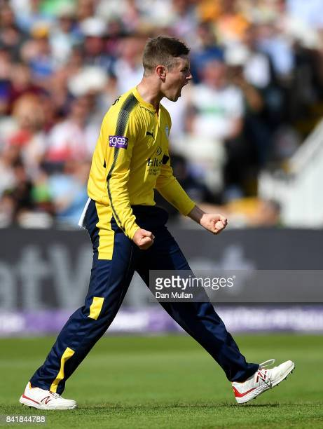 Mason Crane of Hampshire celebrates taking the wicket of Riki Wessels of Notts Outlaws during the NatWest T20 Blast SemiFinal match between Hampshire...