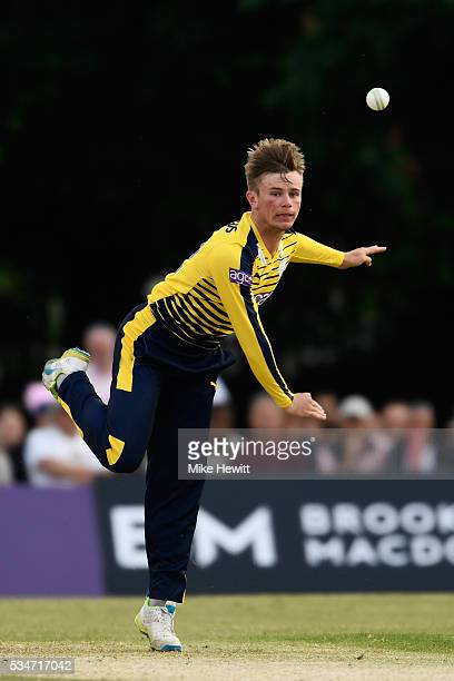 Mason Crane of Hampshire in action during the NatWest T20 Blast between Middlesex and Hampshire at the Uckfield Sports Ground on May 27 2016 in...