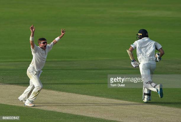 Mason Crane of MCC appeals during day three of the Champion County match between Marylebone Cricket Club and Middlesex at Sheikh Zayed stadium on...