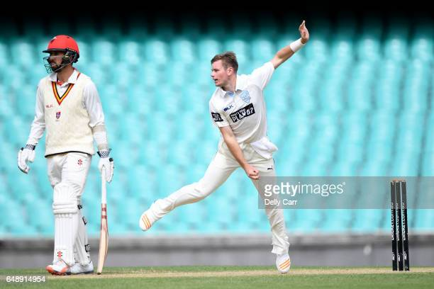 Mason Crane of New South Wales competes in the Sheffield Shield match between New South Wales and South Australia at Sydney Cricket Ground on March 7...
