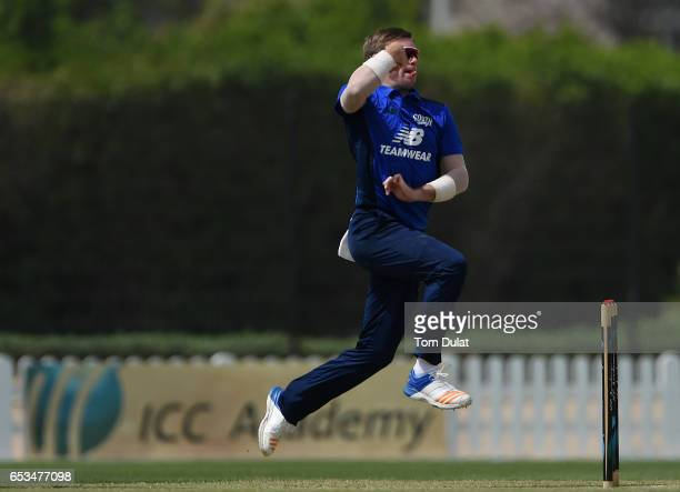 Mason Crane of The South bowls during their warm up session prior to the ECB North versus South Series on March 15 2017 in Dubai United Arab Emirates