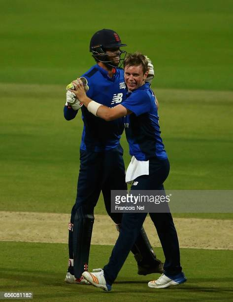 Mason Crane of The South celebrates with teammates after dismissing Liam Livingstone of The North during Game Three of the ECB North versus South...
