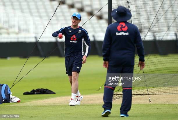 Mason Crane takes bowls during a nets session at Edgbaston on August 15 2017 in Birmingham England
