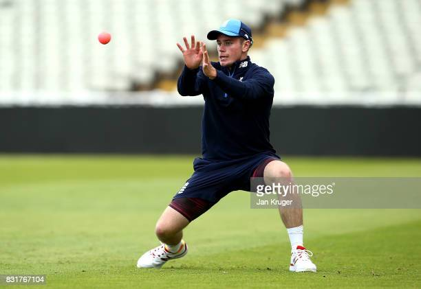 Mason Crane takes part in a fielding drill during a nets session at Edgbaston on August 15 2017 in Birmingham England