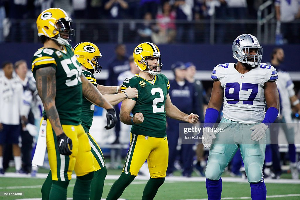Mason Crosby #2 of the Green Bay Packers reacts after kicking a field goal in the second half during the NFC Divisional Playoff Game against the Dallas Cowboys at AT&T Stadium on January 15, 2017 in Arlington, Texas.