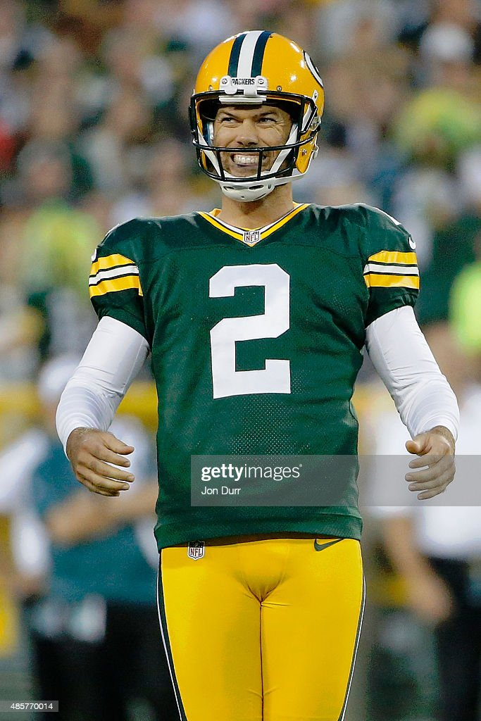 Mason Crosby #2 of the Green Bay Packers reacts after missing a field goal attempt against the Philadelphia Eagles during a preseason game at Lambeau Field on August 29, 2015 in Green Bay, Wisconsin.