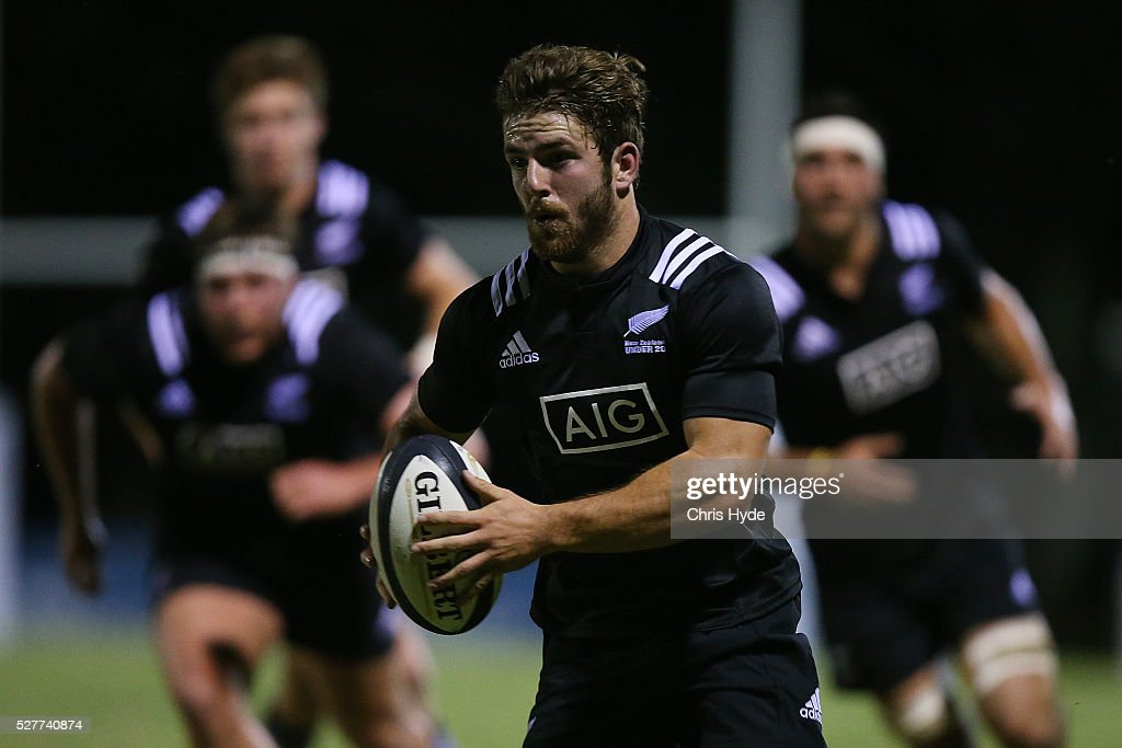 Mason Emerson of New Zealand runs the ball during the Under 20s Oceania Rugby match between Australia and New Zealand at Bond University on May 3, 2016 in Gold Coast, Australia.