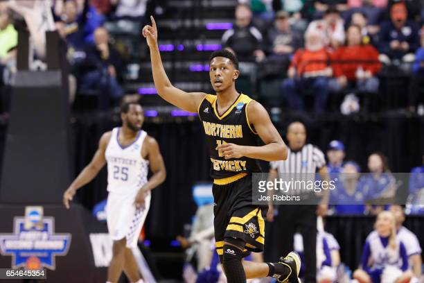Mason Faulkner of the Northern Kentucky Norse reacts in the first half against the Kentucky Wildcats during the first round of the 2017 NCAA Men's...