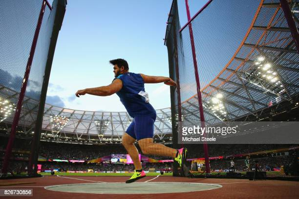 Mason Finley of the United States competes in the Men's Discus during day two of the 16th IAAF World Athletics Championships London 2017 at The...