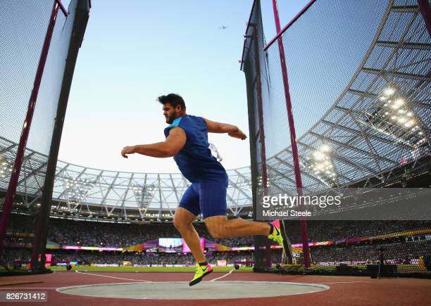 Mason Finley of the United States in action in the Men's Discus Final during day two of the 16th IAAF World Athletics Championships London 2017 at...