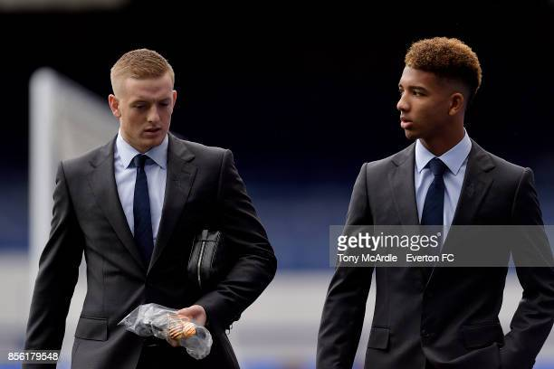 Mason Holgate and Jordan Pickford of Everton arrive before the Premier League match between Everton and Burnley at Goodison Park on October 1 2017 in...