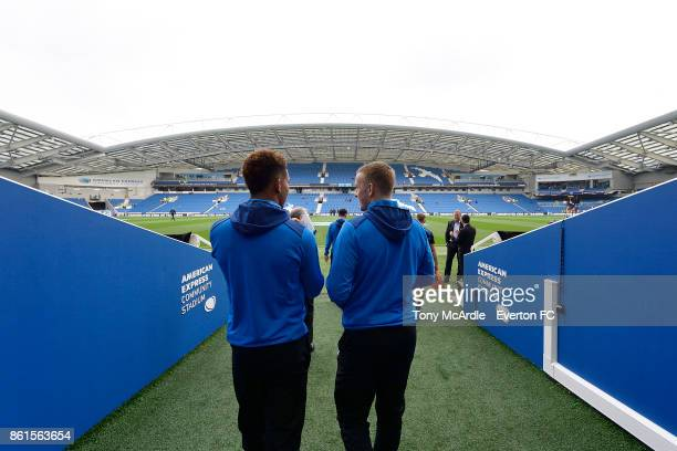 Mason Holgate and Jordan Pickford of Everton before the Premier League match between Brighton and Hove Albion and Everton at Amex Stadium on October...