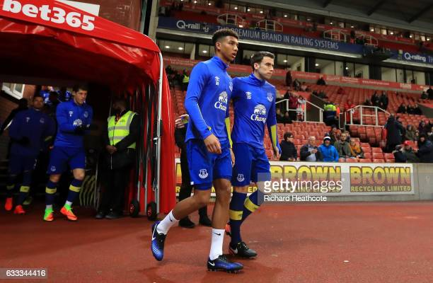 Mason Holgate and Seamus Coleman of Everton walk out for the Premier League match between Stoke City and Everton at Bet365 Stadium on February 1 2017...