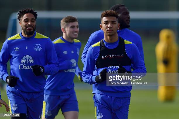 Mason Holgate and team mates during the Everton FC training session at USM Finch Farm on March 9 2017 in Halewood England
