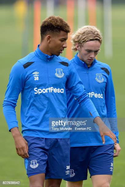 Mason Holgate and Tom Davies during the Everton FC training session at USM Finch Farm on July 25 2017 in Halewood England