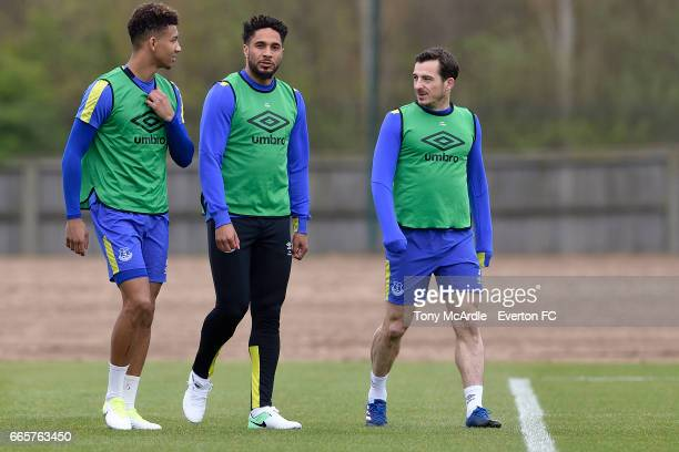Mason Holgate Ashley Williams and Leighton Baines during the Everton FC training session at USM Finch Farm on April 7 2017 in Halewood England