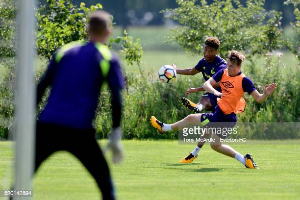Mason Holgate crosses the ball during the Everton training session on July 21 2017 in De Lutte Netherlands