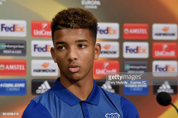 Mason Holgate during the Everton press conference at USM Finch Farm on September 27 2017 in Halewood England
