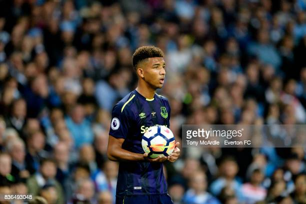 Mason Holgate during the Premier League match between Manchester City and Everton at Etihad Stadium on August 21 2017 in Manchester England