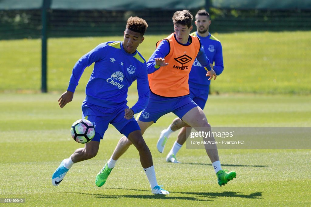 Mason Holgate (L) Matty Foulds and Kevin Mirallas during the Everton FC training session at USM Finch Farm on May 4, 2017 in Halewood, England.