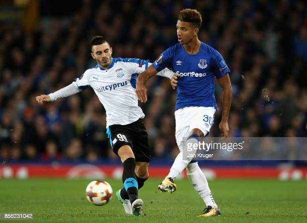 Mason Holgate of Everton and Anton Maglica of Apollon Limassol in action during the UEFA Europa League group E match between Everton FC and Apollon...