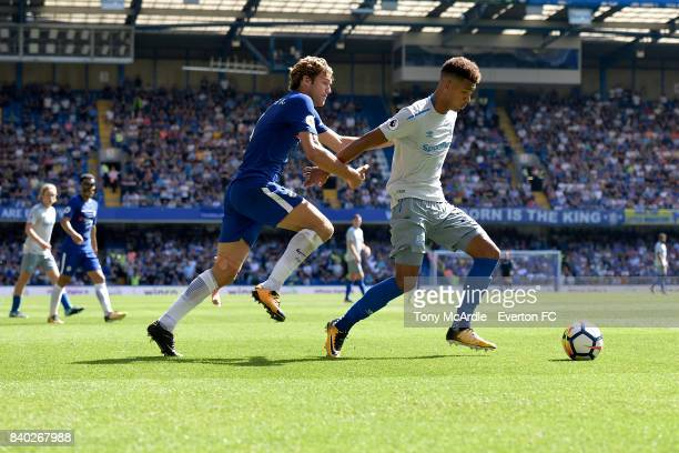 Mason Holgate of Everton and Marcos Alonso of Chelsea during the Premier League match between Chelsea and Everton at Stamford Bridge on August 27...