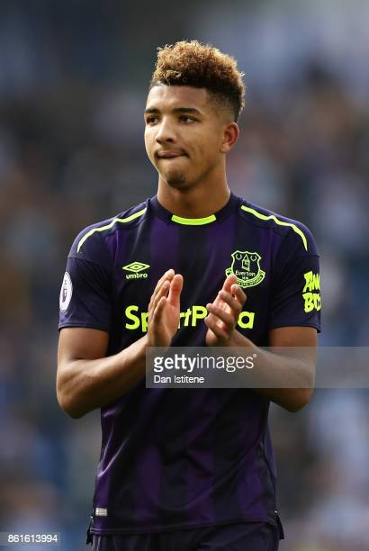 Mason Holgate of Everton appaluds the away fans after the Premier League match between Brighton and Hove Albion and Everton at Amex Stadium on...
