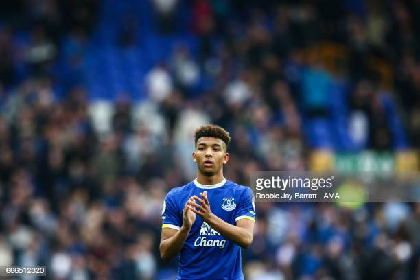 Mason Holgate of Everton applauds the fans at full time during the Premier League match between Everton and Leicester City at Goodison Park on April...