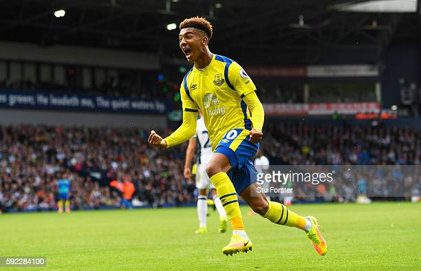 Mason Holgate of Everton celebrates after his team score their second goal during the Premier League match between West Bromwich Albion and Everton...