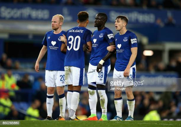 Mason Holgate of Everton guides his wall during the Carabao Cup Third Round match between Everton and Sunderland at Goodison Park on September 20...