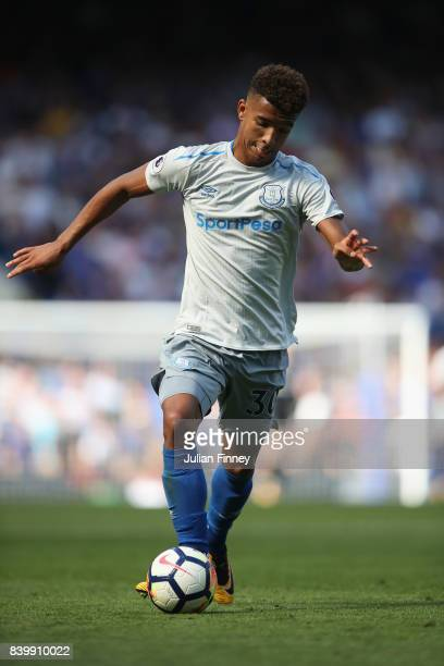 Mason Holgate of Everton in action during the Premier League match between Chelsea and Everton at Stamford Bridge on August 27 2017 in London England
