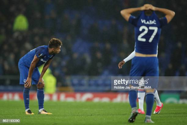 Mason Holgate of Everton reacts at full time during the UEFA Europa League group E match between Everton FC and Olympique Lyon at Goodison Park on...