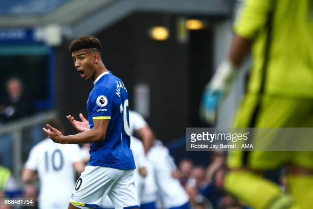 Mason Holgate of Everton reacts during the Premier League match between Everton and Leicester City at Goodison Park on April 9 2017 in Liverpool...