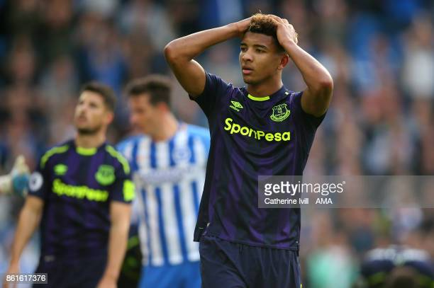 Mason Holgate of Everton reacts during the Premier League match between Brighton and Hove Albion and Everton at Amex Stadium on October 15 2017 in...