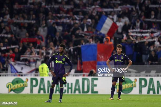 Mason Holgate of Everton reacts during the UEFA Europa League group E match between Olympique Lyon and Everton FC at Stade de Lyon on November 2 2017...
