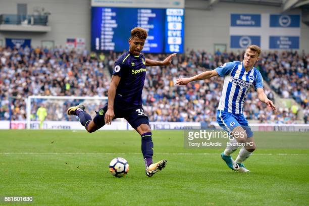 Mason Holgate of Everton with a chance on goal during the Premier League match between Brighton and Hove Albion and Everton at Amex Stadium on...