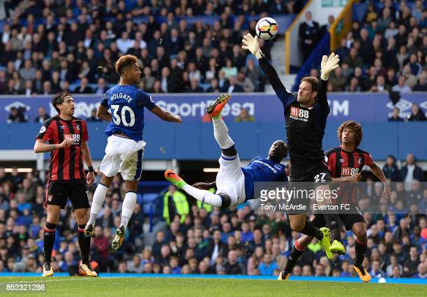 Mason Holgate of Everton with a headed chance during the Premier League match between Everton and AFC Bournemouth at Goodison Park on September 23...