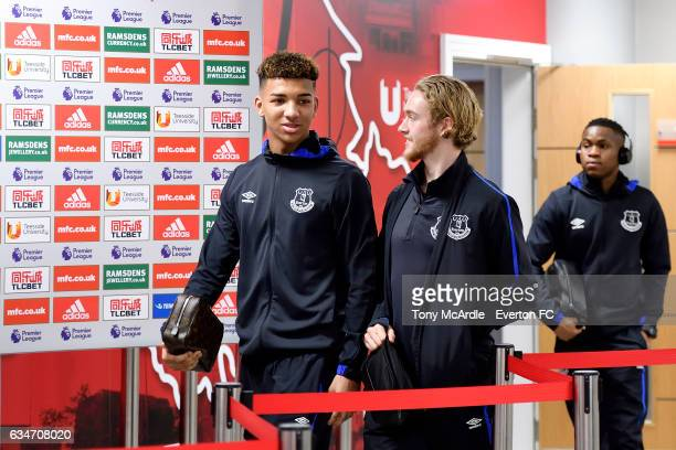 Mason Holgate Tom Davies and Ademola Lookman arrive before the Premier League match between Middlesbrough and Everton at the Riverside Stadium on...