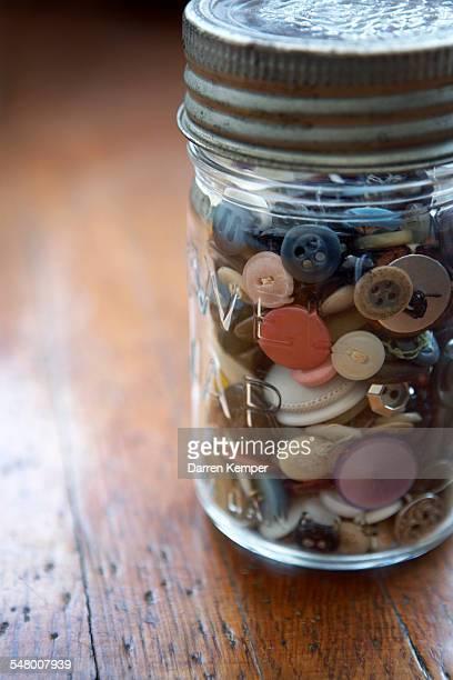 Mason jar filled buttons