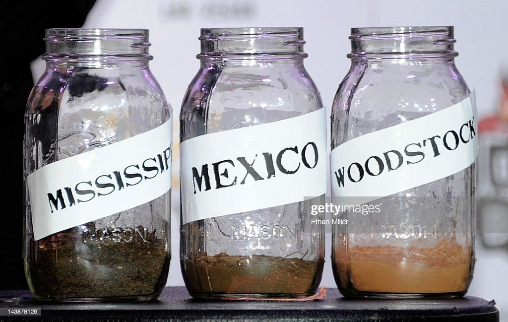 Mason jars containing dirt are displayed at the House of Blues inside the Mandalay Bay Resort & Casino during a mud ceremony for recording artist Carlos Santana May 4, 2012 in Las Vegas, Nevada. The ceremony involved combining dirt from the town of Clarksdale in the Mississippi Delta with dirt from Bethel, New York from the site of the Woodstock Festival and mud from Santana's hometown of Autlan de Navarro, Jalisco in Mexico to symbolize his two-year residency at the music venue.