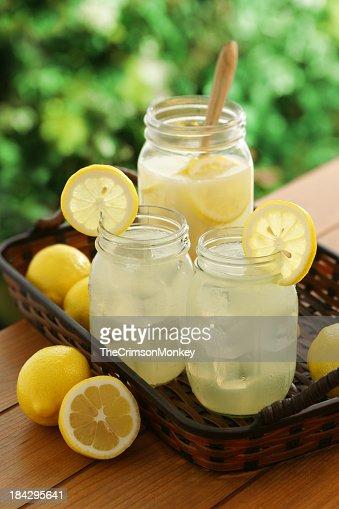 Mason jars filled with fresh lemonade and lemon slices