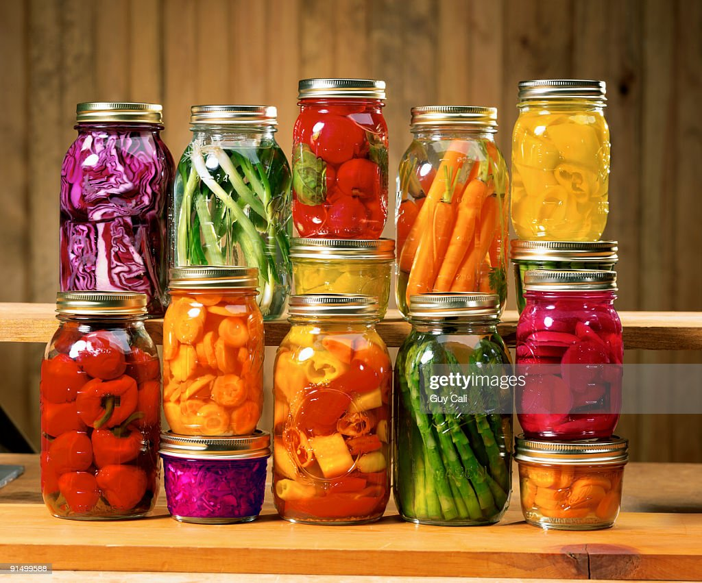 Mason jars with canned vegetables