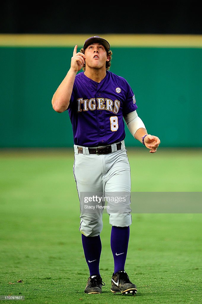 Mason Katz #8 of the LSU Tigers looks to the sky prior to game 2 of the NCAA baseball Super Regionals against the Oklahoma Sooners at Alex Box Stadium on June 8, 2013 in Baton Rouge, Louisiana.