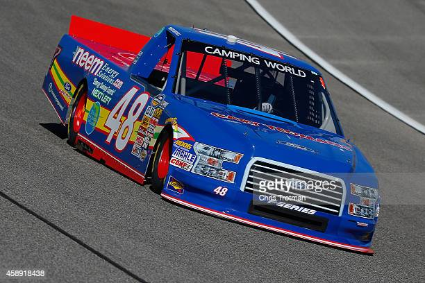 Mason Mitchell driver of the NEEM/Wildlife Foundation Florida Ford practices for the NASCAR Camping World Truck Series Ford EcoBoost 200 at...