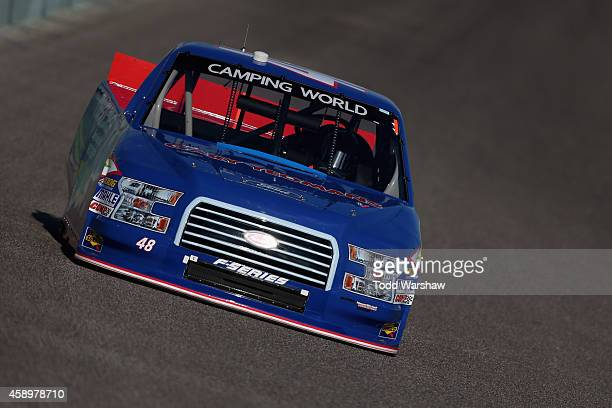 Mason Mitchell driver of the NEEM/Wildlife Foundation Florida Ford drives during qualifying for the NASCAR Camping World Truck Series Ford EcoBoost...