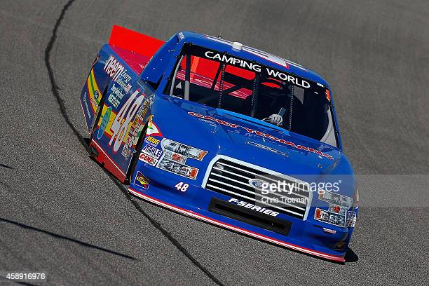 Mason Mitchell drives the NEEM/Wildlife Foundation Florida Ford during practice for the NASCAR Camping World Truck Series Ford EcoBoost 200 at...